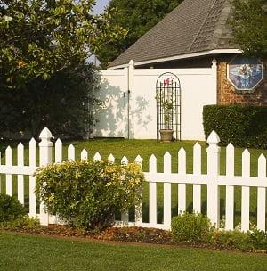 Fancy white picket fence in Texas
